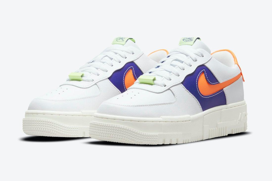 Nike Air Force 1 Pixel White Purple Orange Volt DM8340-100 Release Date Info