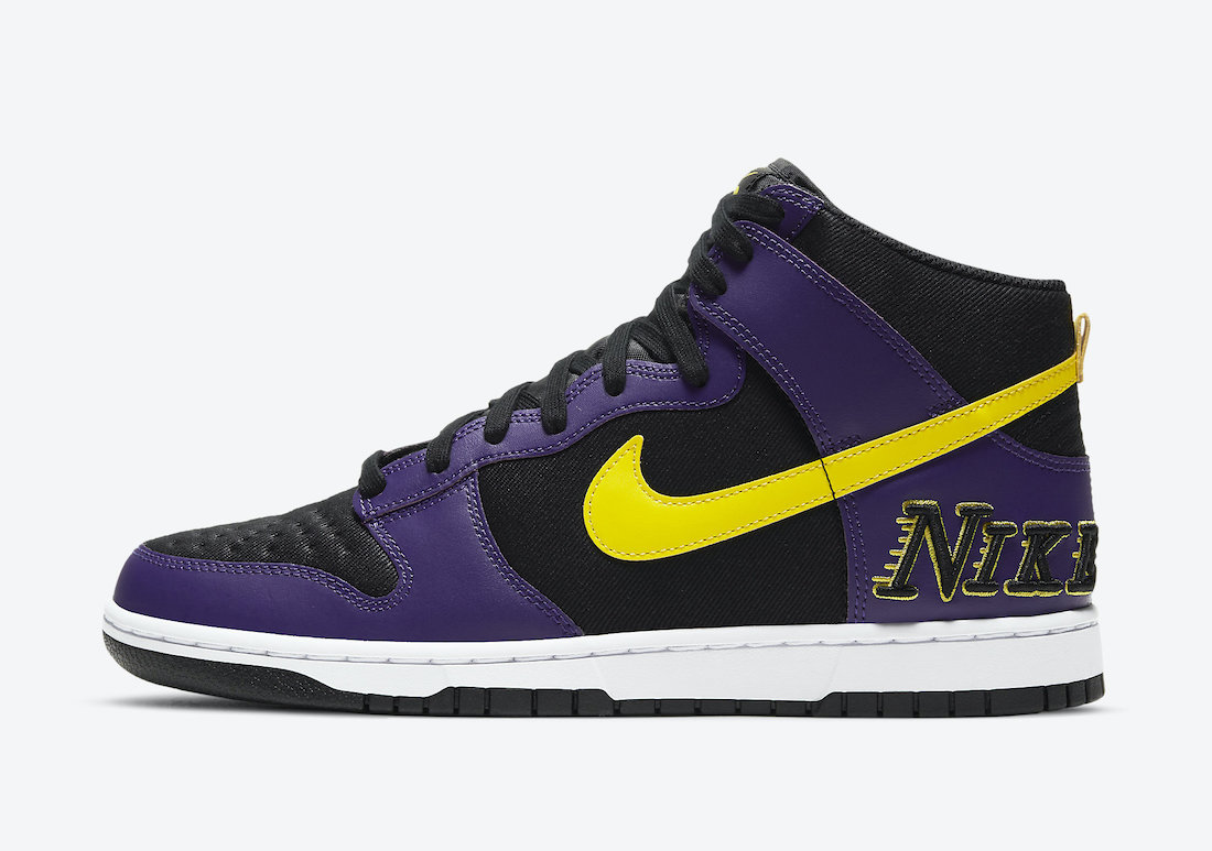 nike dunk high emb lakers dh0642 001 release date info 1