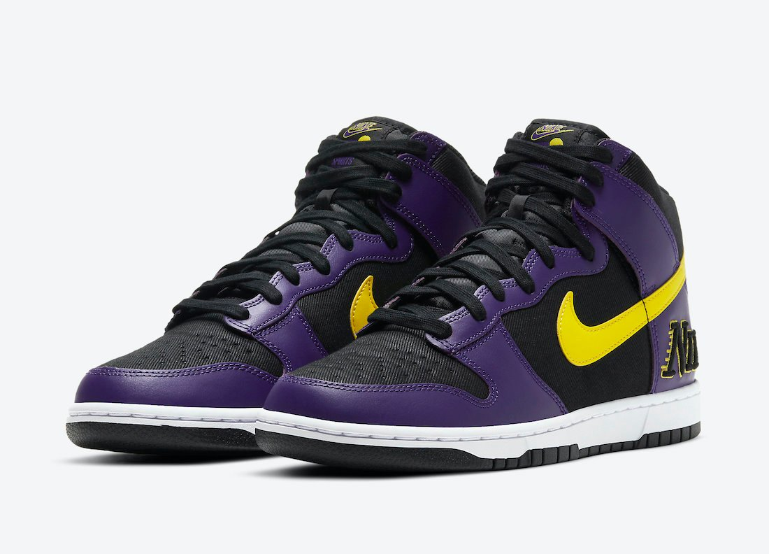 Nike Dunk High EMB Lakers DH0642-001 Release Date Info