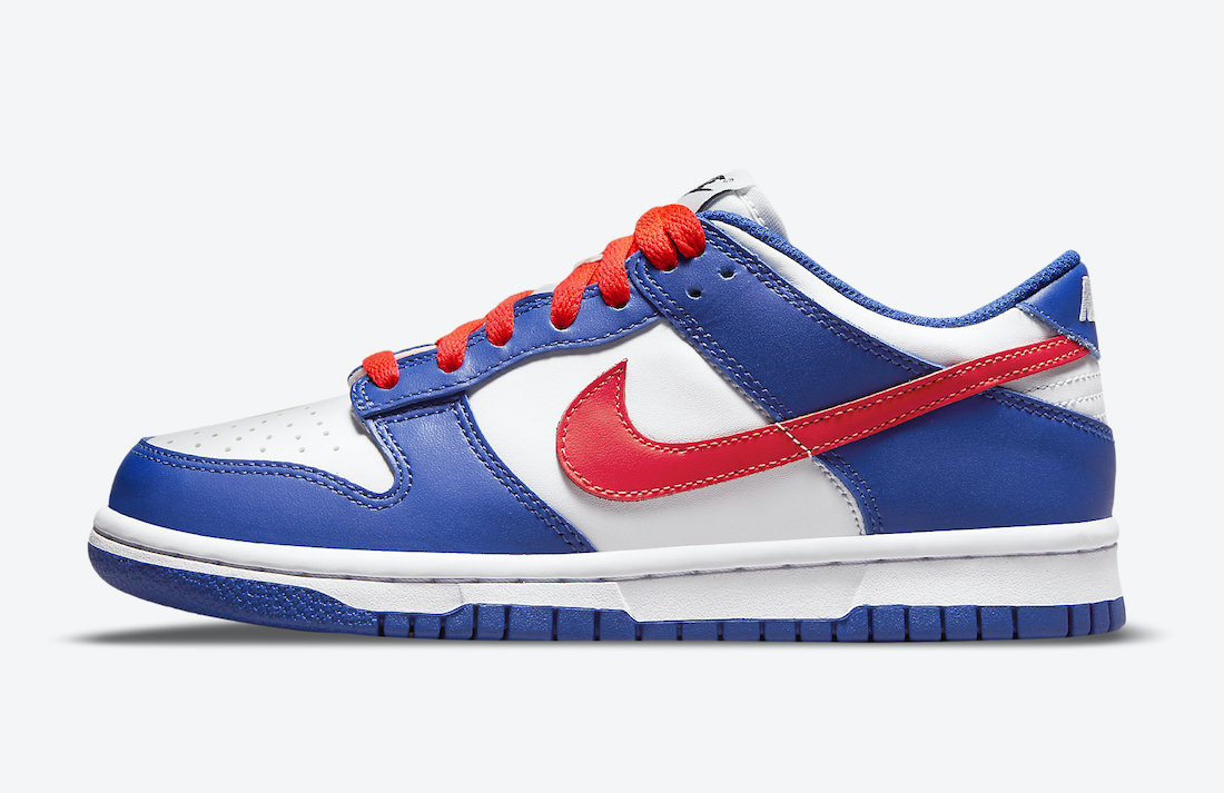 Nike Dunk Low GS White Blue Crimson CW1590-104 Release Date Info