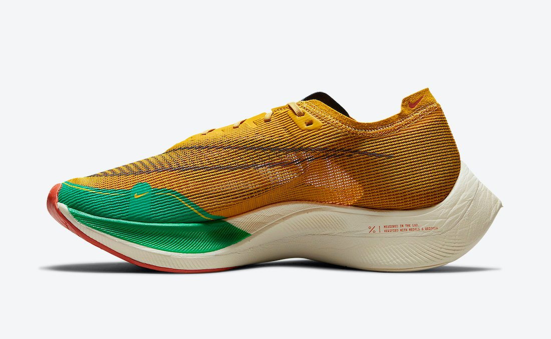 Nike ZoomX VaporFly NEXT% 2 72 Gold Green Red DJ5182-700 Release Date Info