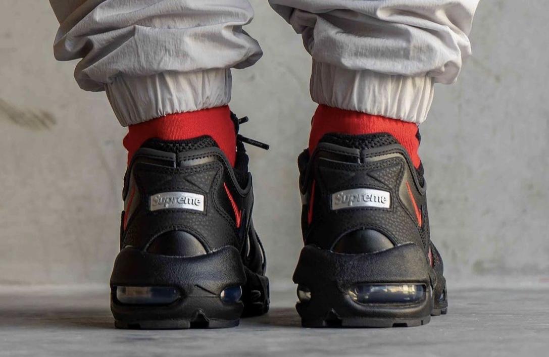 Supreme Nike Air Max 96 Black Red CV7652-002 On-Feet