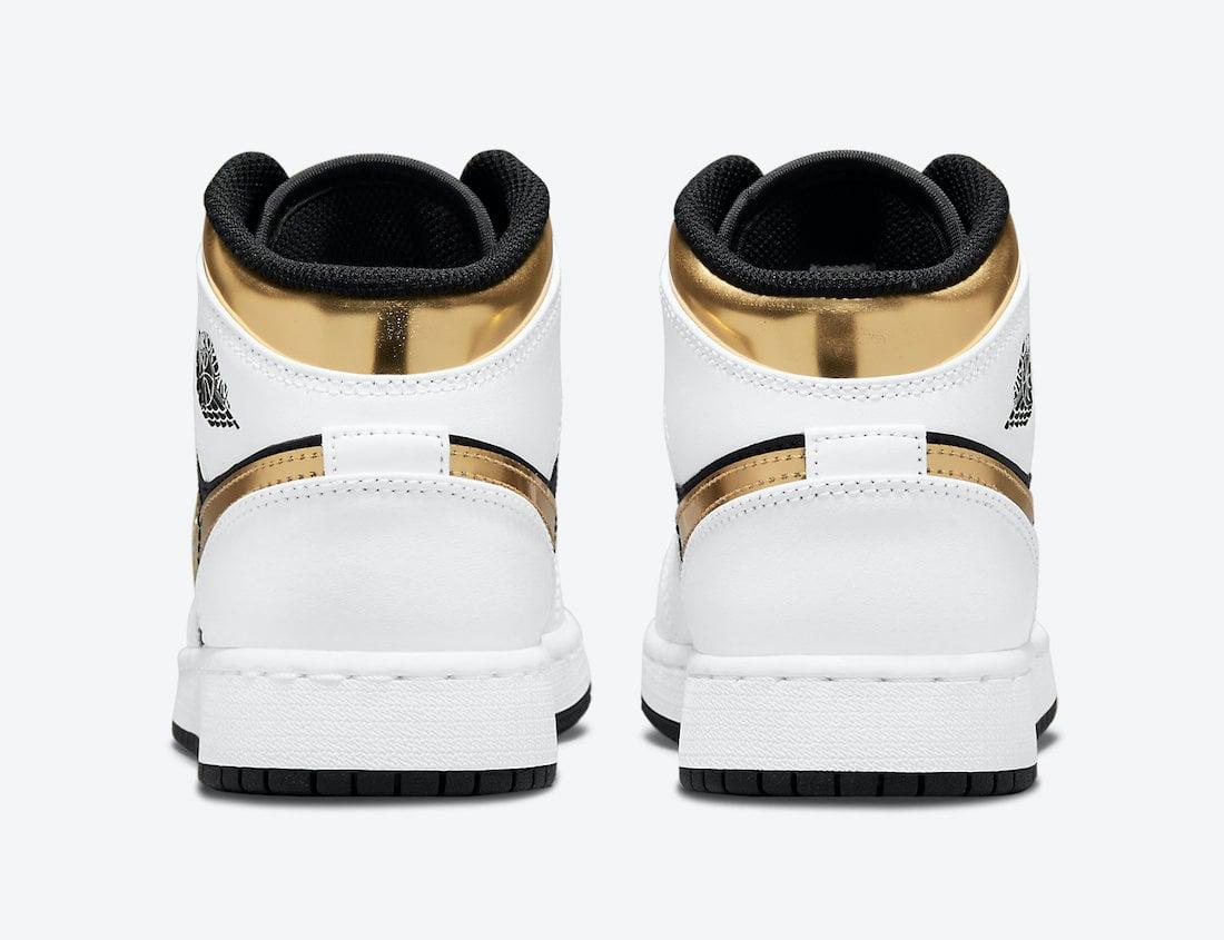 Air Jordan 1 Mid GS White Black Gold 554725-190 Release Date Info