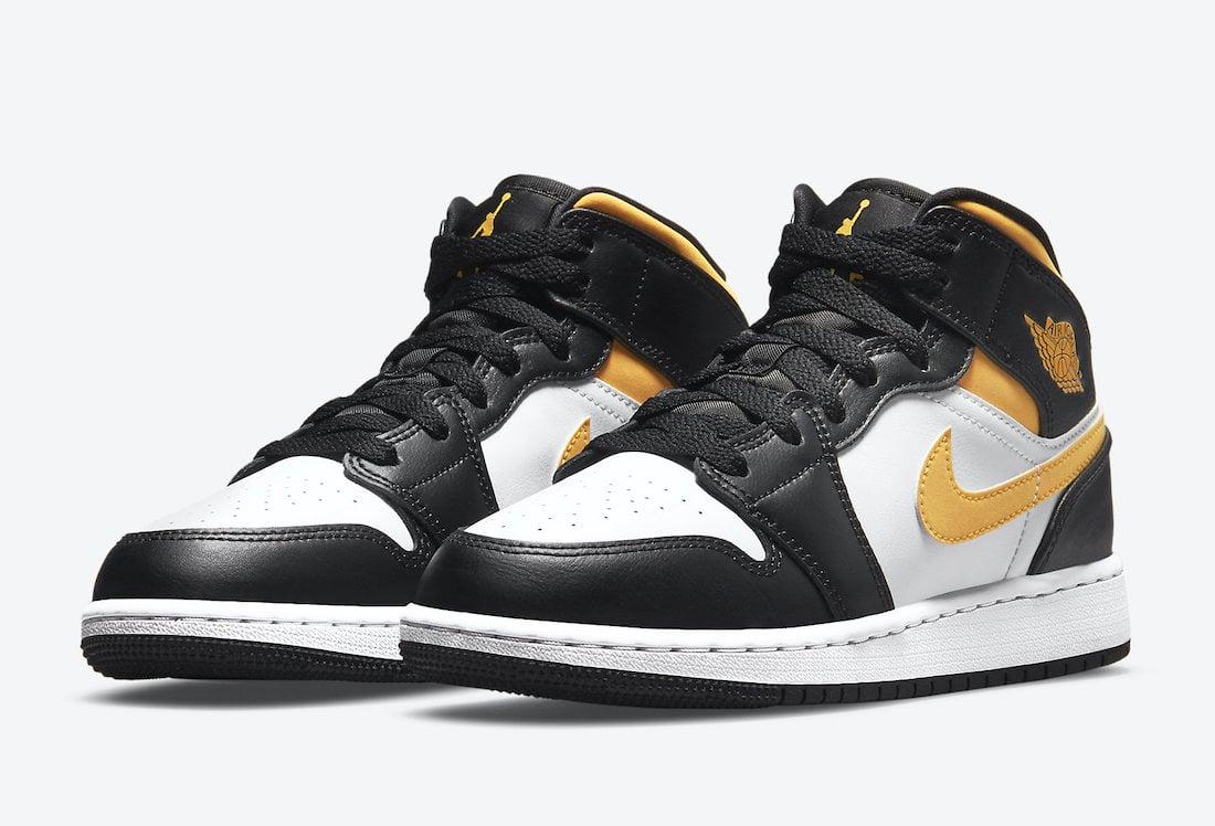 Air Jordan 1 Mid GS White Black Yellow 554725-177 Release Date Info