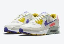 Nike Air Max 90 White Yellow Purple Pink DA8726-100 Release Date Info