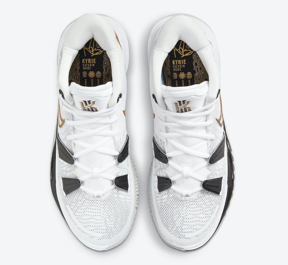 Nike Kyrie 7 White Black Gold CQ9326-101 Release Date Info