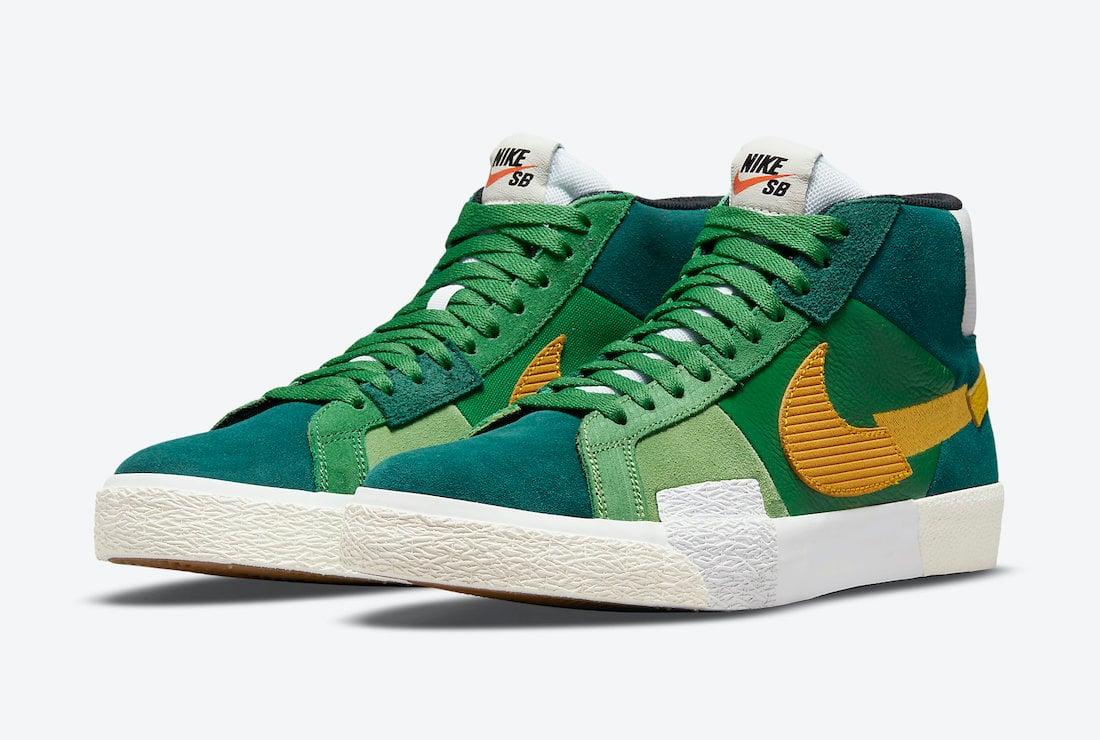 Nike SB Blazer Mid Mosaic Green Yellow DA8854-300 Release Date Info