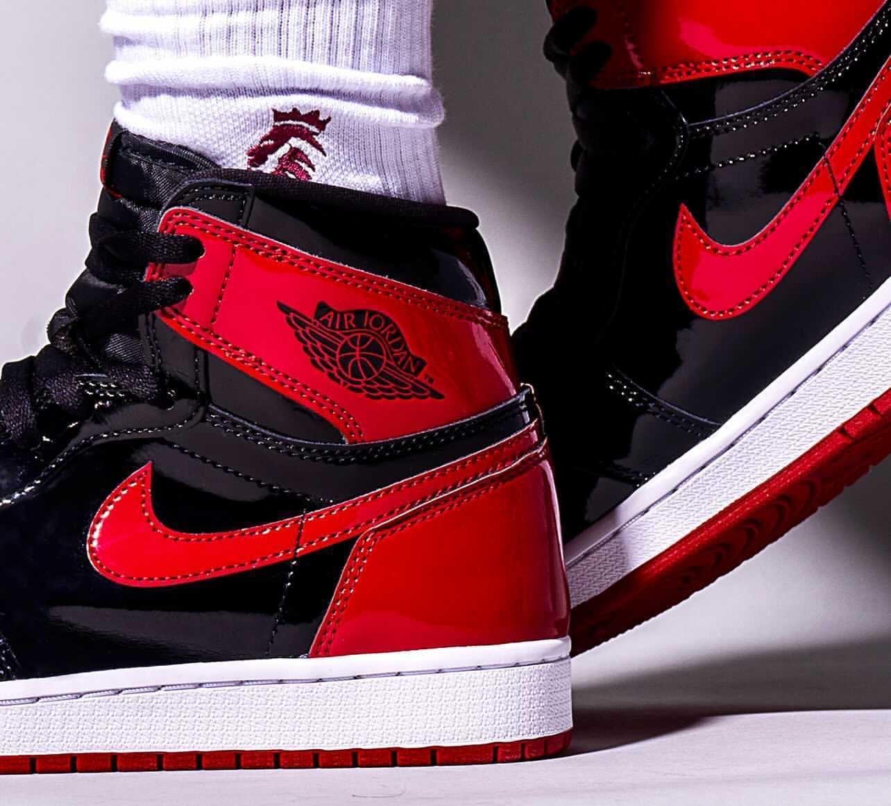 Air Jordan 1 Bred Patent 555088-063 Release Date On-Feet