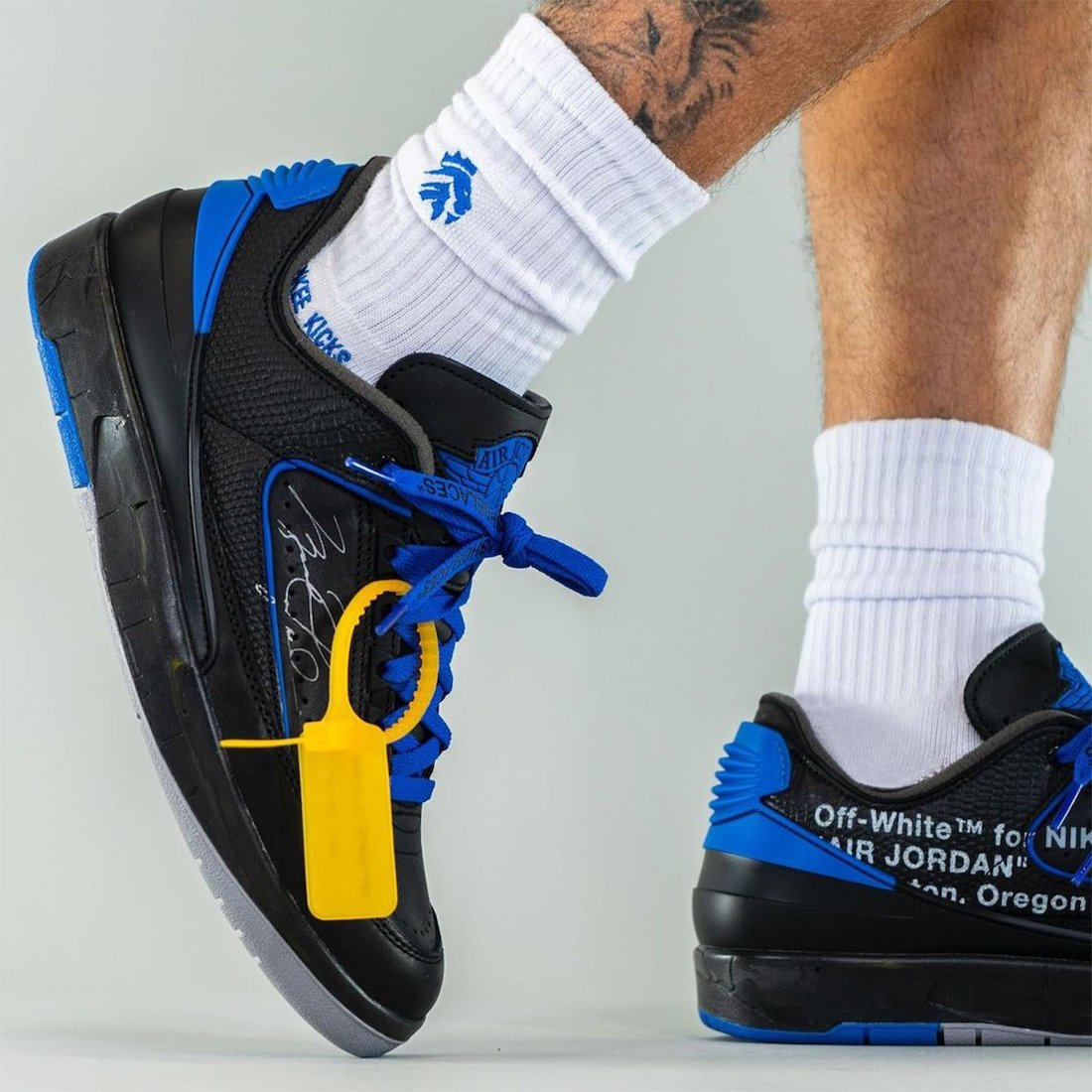 Off-White Air Jordan 2 Low Black Blue DJ4375-004 On-Feet