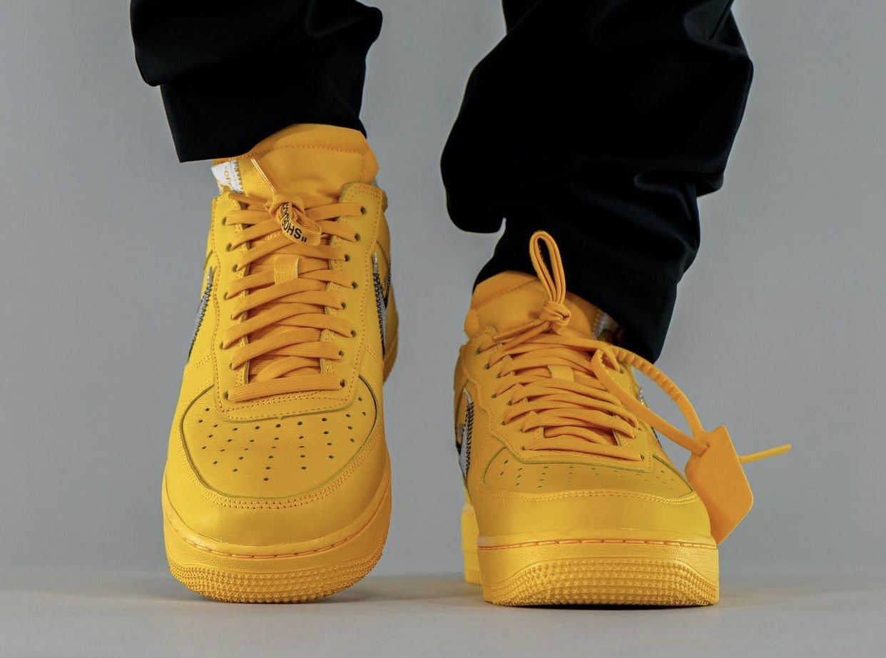 Off-White x Nike Air Force 1 Low University Gold DD1876-700 On-Feet