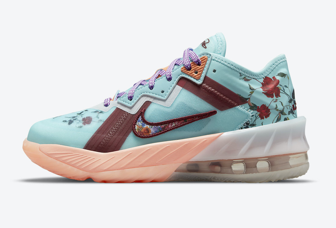 nike lebron 18 low gs floral dn4177 400 release date info 1