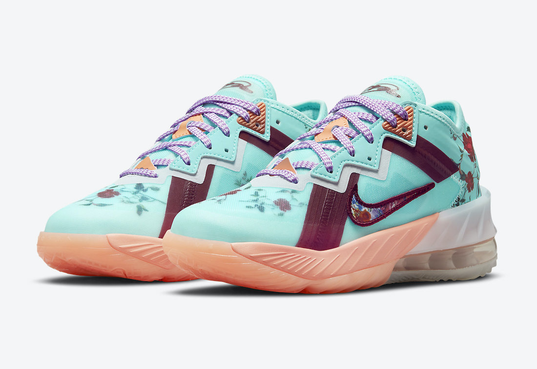 nike lebron 18 low gs floral dn4177 400 release date info