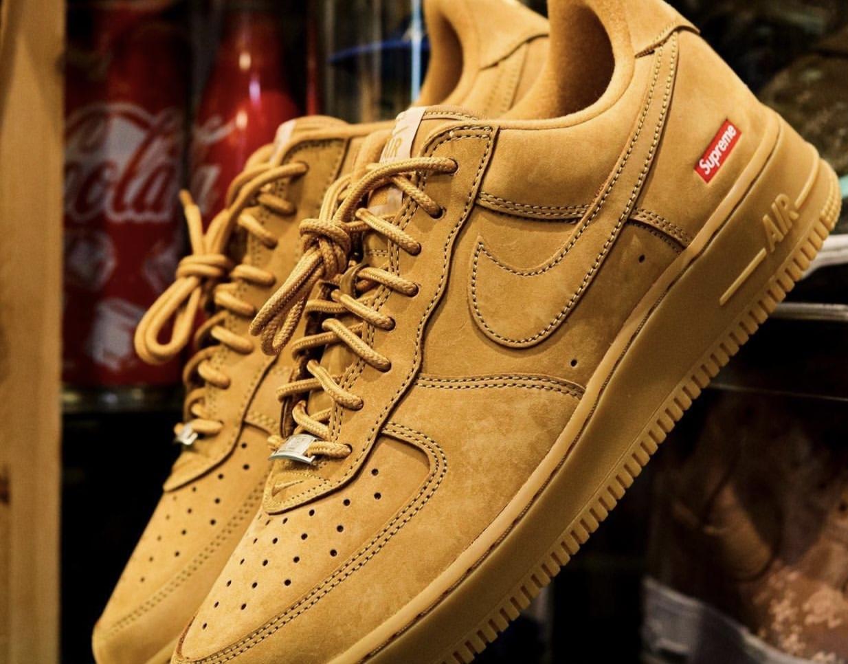 Supreme Nike Air Force 1 Wheat Flax