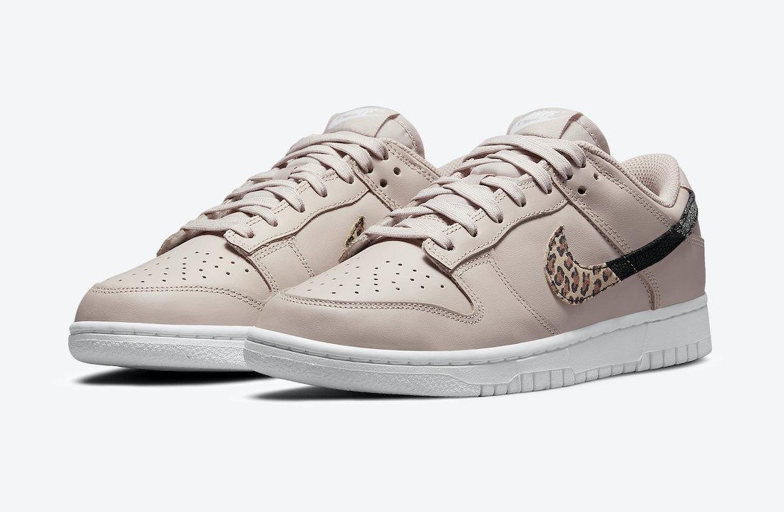Nike Dunk Low in Pink with Split Animal Print Swoosh Logos