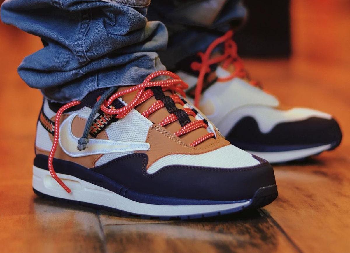 Travis Scott Nike Air Max 1 Baroque Brown On-Feet